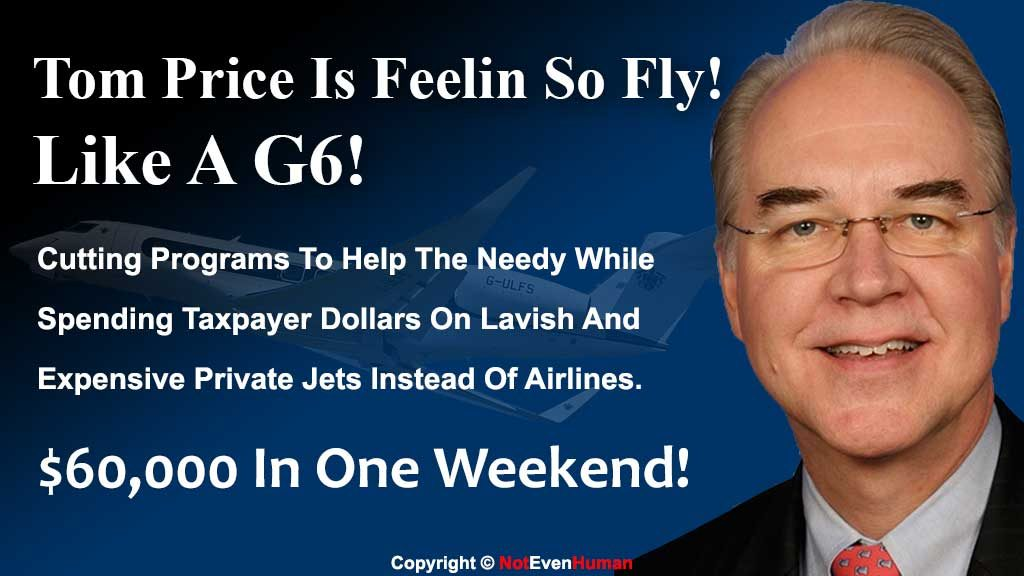 Health and Human Services Secretary Tom Price took trips this month on a private jet for official business in lieu of commercial flights.